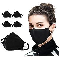 5 PCS Cotton Face Mask Cover Bandana Balaclavas, 2-Layer Unisex Reusable Fashion Washable face mask (Pack 5, Black) - UK…