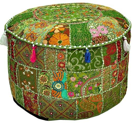 Baumwolle Runde Osmanischen (aakriti Galerie Indian Hocker Fußhocker Ethnic gesticktes Pouf rund, indische Baumwolle osmanischen Pouf Cover Kissen Ethnic Decor Art–Bezug nur (55,9x 35,6cm) grün)