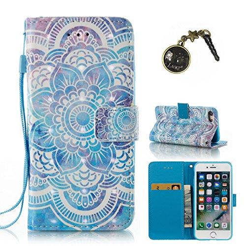 Preisvergleich Produktbild 3D iPhone 7 Hülle,  PU Leder Hülle für Ledertasche Schutzhülle Case[Stand Feature] Flip Case Cover Etui mit Karte Slots Hülle für Apple iPhone 7(4.7 Zoll)+Staubstecker (10)