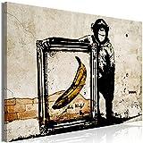 decomonkey | Bilder Banksy Affe 90x60 cm | 1 Teilig | Leinwandbilder | Bild auf Leinwand | Vlies | Wandbild | Kunstdruck | Wanddeko | Wand | Wohnzimmer | Wanddekoration | Deko | Banane Beton Mauer orange gelb