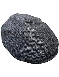 G & H Great Horse Herringbone Newsboy Cap - Dark Grey