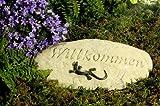 Echse sitzend auf Gartenstein - Willkommen -