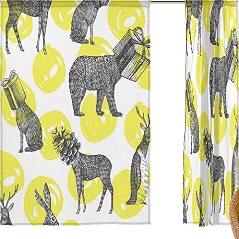 jstel Joyeux Noël Lot de 2voile rideau fenêtre, Vintage Elk cerf Boîte, en tulle Transparent Rideau Drapé Lit 139,7x 198,1cm deux panneaux de, Polyester, bleu, 55x84x2(in)