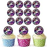 Einhorn 24 Personalisierte Vorgeschnittene Kreise - Essbare Cupcake Aufleger / Geburtstagskuchen Dekorationen