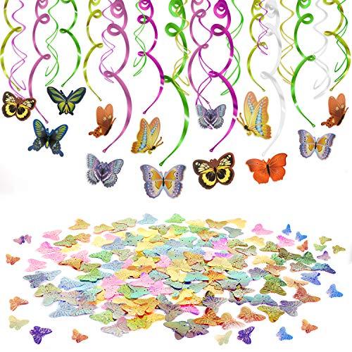metterling Deko hängende Spiralen Girlande und Farbig Schmetterling Tisch Konfetti (30g) für Geburtstagsdeko Mädchen Jungen Kindergeburtstag Deko ()