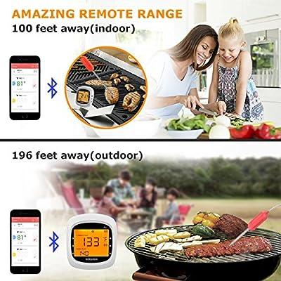 Grillthermometer Bluetooth, Digital Wireless BBQ Thermometer Grill mit 4 Sonden, Funk Thermometer Bratenthermometer Fleischthermometer Set für Küche, Smoker, Steak, Unterstützt IOS, Android