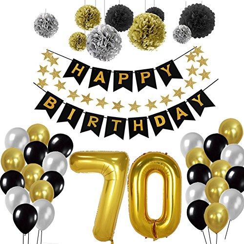 nen 70., Birthday Party Supplies Sets Alles Gute Zum Geburtstag Banner Bunting Seidenpapier Pom Poms, hängenden Swirl Decor und Ballon Kit (70th) ()