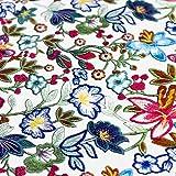 Brittschens Stoffe und Zutaten Kunstleder Lederimitat weiß mit bunten Blumen - Meterware - Stoff zum nähen