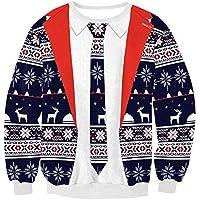 BAGBA Amantes de los Hombres y Mujeres de Navidad Sueltos Patrón de Navidad de Gran tamaño Suéteres de Cuello Redondo (Color : Red, Tamaño : S)