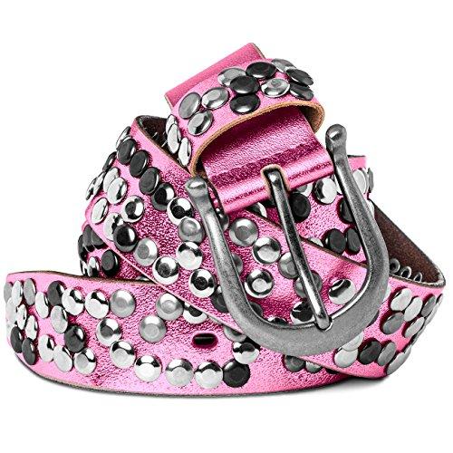 CASPAR GU223L 100% Leder Damen Vintage Gürtel mit Nieten / Nietengürtel , Gürtelgröße:85;Farbe:pink metallic