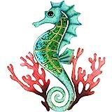 Hongland, scultura decorativa da parete in metallo della serie Ocean per interni, decorazione in vetro da appendere, blu per