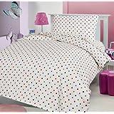 LOVE2SLEEP - Juego de cama infantil (franela de algodón 100%, incluye sábana bajera, sábana, y funda de almohada, 70 x 140 cm), diseño a lunares