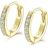 Shuxin Silver Hoops Earrings for Women, 925 Sterling Silver Huggie Hinged Earrings with AAA Cubic Zirconia, Diameter 13mm Hyp