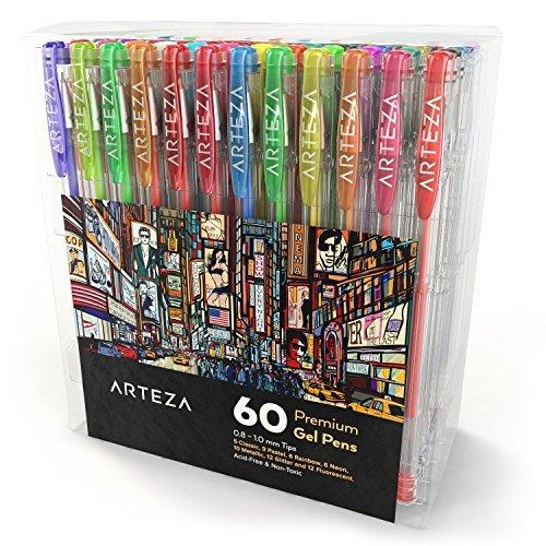 Arteza Pack de bolígrafos de gel | 60 colores individuales | Tinta de gel no tóxica y sin ácido | 7 Colores clásicos | 9 Pastel | 6 Rainbow | 6 Neón | 10 Metálicos | 12 Purpurina | 10 fluorescentes
