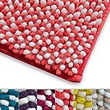 Chenille Badematte Manta | moderner Microfaser Badvorleger in Trendfarben | ÖKO TEX Standard 100 | extra hoch | Komfortgröße 50x80 cm für Badezimmer | Koralle - Weiß