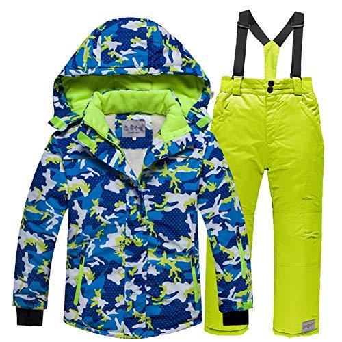 LPATTERN Kinder Jungen/Mädchen Skifahren 2 Teilig Schneeanzug Skianzug(Skijacke+ Skihose), Blau Jacke+ Grün Trägerhose, Gr. 104/110(Herstellergröße: 100-110/4) | 08712129539300