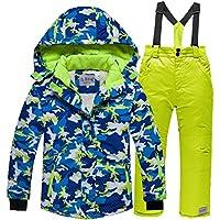 LPATTERN Traje de Esquí Impermeable para Niños Unisex 2 Piezas Chaqueta Acolchada + Pantalones con Tirante, Azul+Verde, 100-110/3-4 años