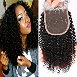 "Nicewig 8A Virgin Human Hair Lace Top Closure Kinky Curly Bleached Knots With Baby Hair Middle Part 4""x4"" Lace..."