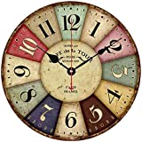Jung Jo decorativa Reloj de pared con números arábigos de madera, 30,5cm, madera, carbón