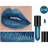 Moresave 8 Farben Diamant Perle Glitter Flüssiger Lippenstift Dauerhaft Wasserdicht Lipgloss Rot Blau Lila Lippenfarbe