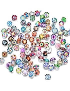 Soleebee Glas Aluminium 12mm Click Button Schmuck Charms Set 60 Stücke - Exotische