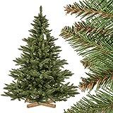 FairyTrees Sapin Arbre de Noêl Artificiel Sapin NORDMANN, Tronc Vert, Matière PVC, Socle en Bois, 180cm