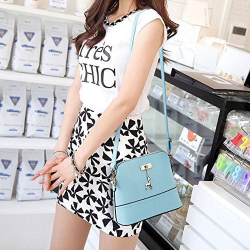 LaoZan Borsa Elegant Donne Messenger Borse Vintage Piccolo Shell Borsetta Di Pu Pelle Casual Borsa Cielo Blu Cielo Blu