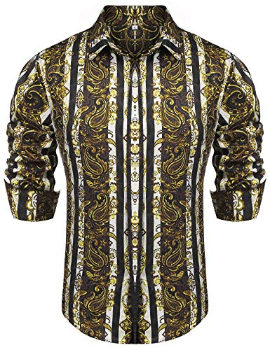 poriff Herren Retro Paisley Hemd Fashion Floral Print Kurzarm Casual Button Down Shirt - Gold - Groß - Paisley Print Western Shirt