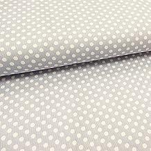 Tela piqué de algodón con estampado de lunares blancos (5mmx 50cm), color gris