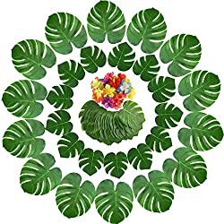 Yuccer 65 Piezas Decoraciones de Fiesta Tropical, Hojas de Palma Monstera Artificial Tropical y Flores Hibiscus para Decoración de Fiesta Hawaiana Luau Selva Temática de Playa (65 Piezas)