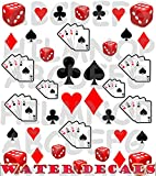AWS set Water decals Poker d'Assi unghie Nail Art adesivi Dadi trasferibili ad acqua Sheet stickers Aces Dices transfer adesivi Decalcomania Semi Carte fiori cuori picche quadri Asso (Poker di assi e semi carte)