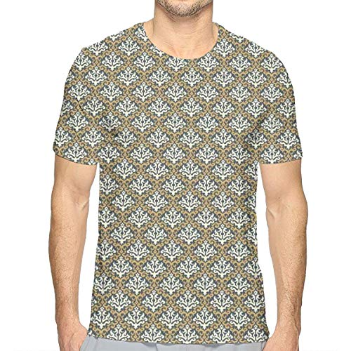 3D Printed T Shirts,Old Fashioned Foliage Royal Motifs with Baroque Influences XL -