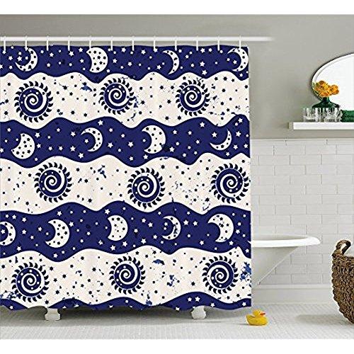 H&S Sonne und Mond Duschvorhang von, gewellt Farbe Bands mit Spirale Sonne Mond Phasen kleine Sterne Vintage Design, Stoff Badezimmer eingerichtet mit Haken, Navy Blue Creme 72