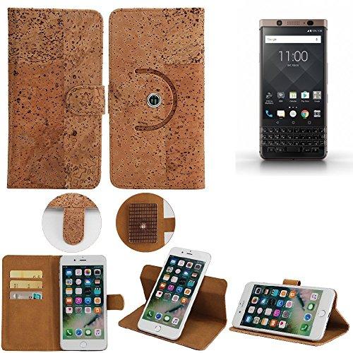 K-S-Trade Schutz Hülle für BlackBerry KEYone Bronze Edition Handyhülle Kork Handy Tasche Korkhülle Handytasche Wallet Case Walletcase Schutzhülle Flip Cover Smartphone
