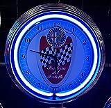 NEONUHR NEON CLOCK ALFA ROMEO-MILANO-SCUDERIA DEL PORTE - WANDUHR BELEUCHTET MIT BLAUEN NEON RING!