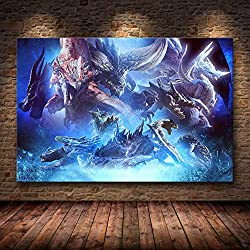 Leinwandbild, Motiv Monster Hunter World auf HD, ohne Rahmen, 20,60 x 90 cm