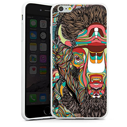 Apple iPhone X Silikon Hülle Case Schutzhülle Bison Muster Farben Silikon Case weiß