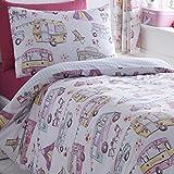 Glamping King Size Duvet Set 2 Pillowcases Girls Caravan Flowers