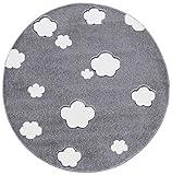 Kinderteppich Love Rugs AUF Wolke 7 Silbergrau/Creme 133 cm rund