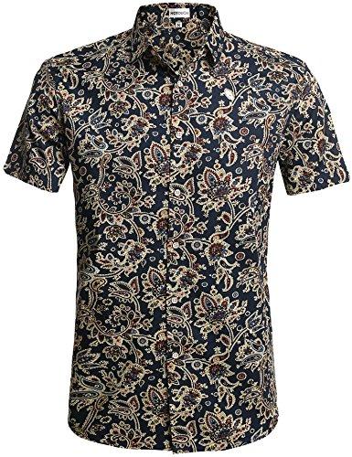 Hotouch Herren Jumpsuit Kleid Outfits Blumendruck Buttons R schen Bodysuit-Sommer-Kleidung Set X-Large Typ1 - Blau (R Outfit)