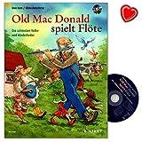 Old Mac Donald che gioca Flauto–Una moderna raccolta con i più belli della popolare e canzoni per bambini–Song Book con CD e herzfoermiger Note KLAMMER