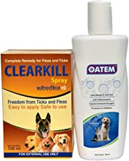 Clearkill Dog and Cat Clearkill Flea and Tick Remover, 100 Ml + Dog Shampoo with Oatmeal for Dogs, Puppies & Cats - 200 ml (for Allergies, Sensitive & Dry Itchy Skin)