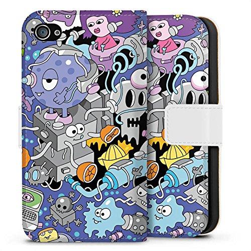 Apple iPhone X Silikon Hülle Case Schutzhülle Comic Art Kunst Sideflip Tasche weiß