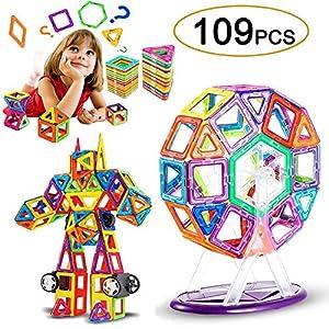 LIVEHITOP 109 PCS Magnetische Bauklötze Set, Magnet Bausteine Konstruktion Blöcke DIY 3D Pädagogische Spielzeug Geburtstag Kindertag Geschenk für Kinder Kleinkind mit Riesenrad Auto Räder (109 Teile)