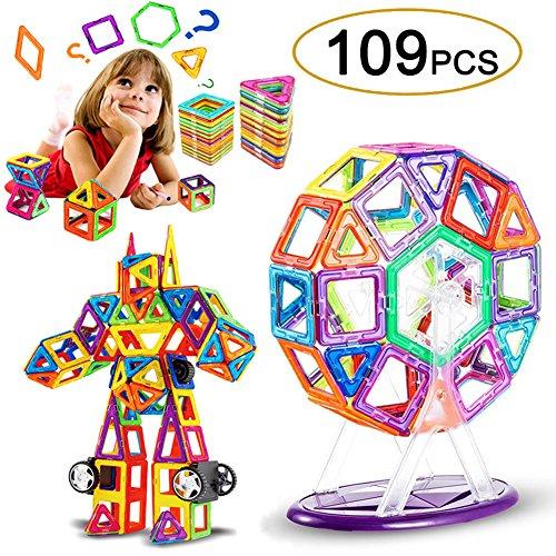 gnetische Bauklötze Set, Magnet Bausteine Konstruktion Blöcke DIY 3D Pädagogische Spielzeug Geburtstag Kindertag Geschenk für Kinder Kleinkind mit Riesenrad Auto Räder (109 Teile) (Magnet-set)