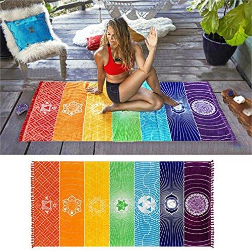 BigFamily Bunte quadratische Regenbogen Strandtuch Matte Tapisserie Hippie Yoga Schal Schal Decke