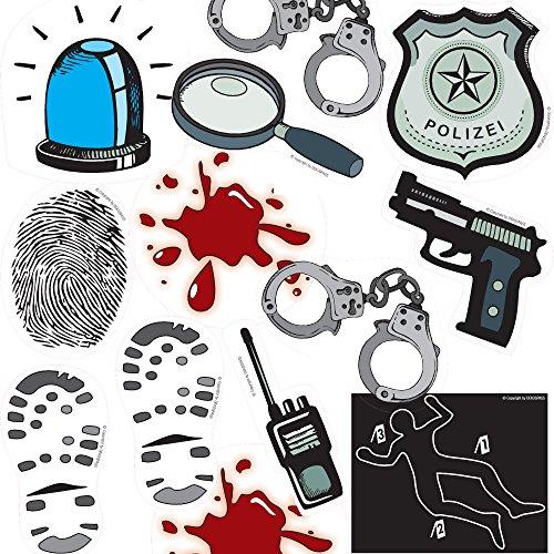 XXL-Konfetti * POLIZEI & DETEKTIV * mit 24 großen Konfetti-Teilen für eine Mottoparty, Krimidinner...