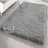 FB FunkyBuys® Large Small Modern Soft Touch Shaggy Thick Luxurious 5cm Dense Pile Bedroom Rug - Available in 12 Vibrant Colors & 4 Sizes (Grey, 66 x 110 cm)