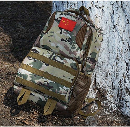 Zaino impermeabile Outdoor sports camouflage double Borsa a Tracolla Oxford borsa per computer 30*47*18cm, blu camouflage Army green Camouflage
