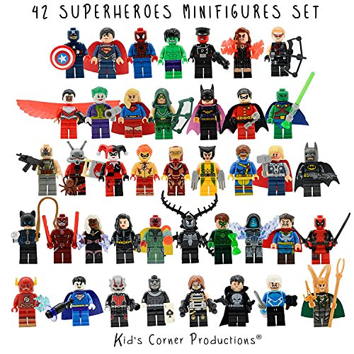 Kids Corner Productions - Superhelden Lego Figuren 42 Set Los Mini Figuren Marvel und DC Comics - Partytasche mit Batman, Spiderman, IronMan, Thor, DeadPool und vieles mehr - Kompatibel mit Lego